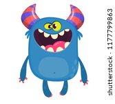 happy cartoon monster. vector... | Shutterstock .eps vector #1177799863