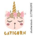 cute sweet little cat dressed... | Shutterstock .eps vector #1177801093
