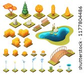 autumn collection of isometric...   Shutterstock .eps vector #1177804486