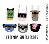 superhero cute animals ... | Shutterstock .eps vector #1177810033