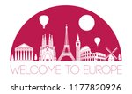 europe top famous landmark... | Shutterstock .eps vector #1177820926