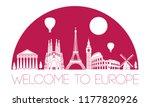 europe top famous landmark...   Shutterstock .eps vector #1177820926