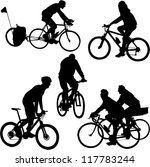 bicyclists silhouettes   vector | Shutterstock .eps vector #117783244