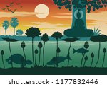 lord of buddha teach by compare ... | Shutterstock .eps vector #1177832446