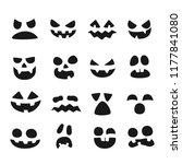 pumpkin faces. halloween evil... | Shutterstock .eps vector #1177841080