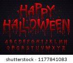 halloween font. horror alphabet ... | Shutterstock .eps vector #1177841083
