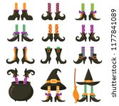 scary witch legs. halloween... | Shutterstock .eps vector #1177841089