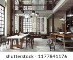loft modern interior designed... | Shutterstock . vector #1177841176