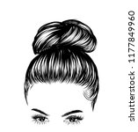 woman with stylish classic bun...   Shutterstock .eps vector #1177849960