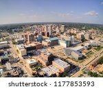 The City of Peoria, Illinois in Summer seen by Aerial View