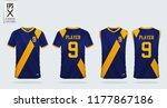 blue and yellow t shirt sport... | Shutterstock .eps vector #1177867186