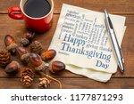 happy thanksgiving word cloud   ... | Shutterstock . vector #1177871293