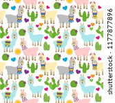 seamless  tileable llama and...   Shutterstock .eps vector #1177877896