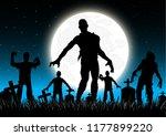 halloween background. tombstone ... | Shutterstock .eps vector #1177899220