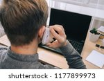 the guy at the computer speaks... | Shutterstock . vector #1177899973