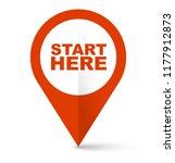 Stock vector red vector banner start here 1177912873