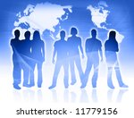 world map and people silhouettes | Shutterstock . vector #11779156