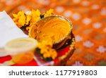 Small photo of Haldi turmeric paste closeup capture