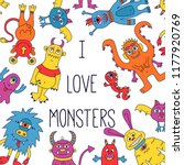 cute monsters colorful vector...   Shutterstock .eps vector #1177920769
