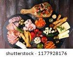italian antipasti wine snacks... | Shutterstock . vector #1177928176