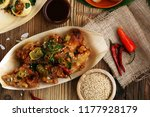 various street food with pani... | Shutterstock . vector #1177928179