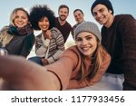 young friends taking selfie... | Shutterstock . vector #1177933456