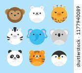 cute vector icon set of zoo... | Shutterstock .eps vector #1177940089