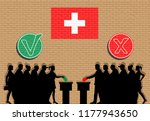 swiss voters crowd silhouette... | Shutterstock .eps vector #1177943650