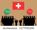swiss voters crowd silhouette... | Shutterstock .eps vector #1177952650