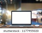 desk laptop with blank screen...   Shutterstock . vector #1177955020