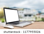 desk laptop with blank screen... | Shutterstock . vector #1177955026
