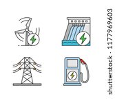electric energy color icons set.... | Shutterstock .eps vector #1177969603