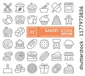 bakery line icon set  bread... | Shutterstock .eps vector #1177973836