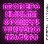 glowing red neon alphabet with... | Shutterstock .eps vector #1177990030