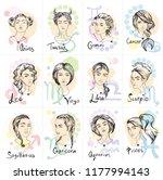 all zodiac signs like beautiful ...   Shutterstock .eps vector #1177994143