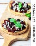 bruschetta with baked beets ... | Shutterstock . vector #1177995820