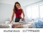pretty housewife in good mood... | Shutterstock . vector #1177996600