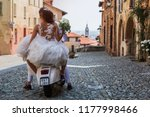 the bride and the groom rides a ...   Shutterstock . vector #1177998466