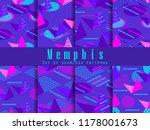memphis seamless pattern set.... | Shutterstock .eps vector #1178001673