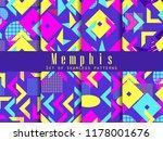 memphis seamless pattern set.... | Shutterstock .eps vector #1178001676