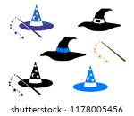 witch hats and wizard hats with ... | Shutterstock .eps vector #1178005456