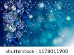 christmas balls on blue... | Shutterstock .eps vector #1178011900