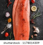 fresh raw salmon fish steak... | Shutterstock . vector #1178014309
