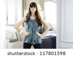 fashion model in fashion dress... | Shutterstock . vector #117801598