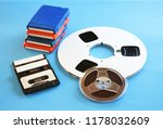 retro 8 track tapes reel to... | Shutterstock . vector #1178032609