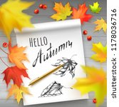 vector illustration with autumn ... | Shutterstock .eps vector #1178036716
