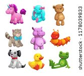 My first friends. Funny textile stuffed toys set. Vector icons on white background.
