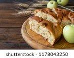 round home made apple pie ... | Shutterstock . vector #1178043250