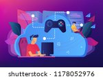 two gamers playing computer... | Shutterstock .eps vector #1178052976