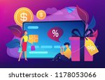 debit card  gift box and users. ... | Shutterstock .eps vector #1178053066